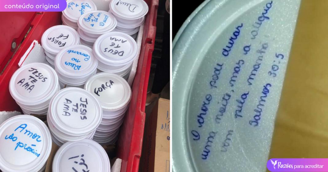 Moradores de cidade destruída pela chuva no ES ganham marmitas com mensagens de esperança 5