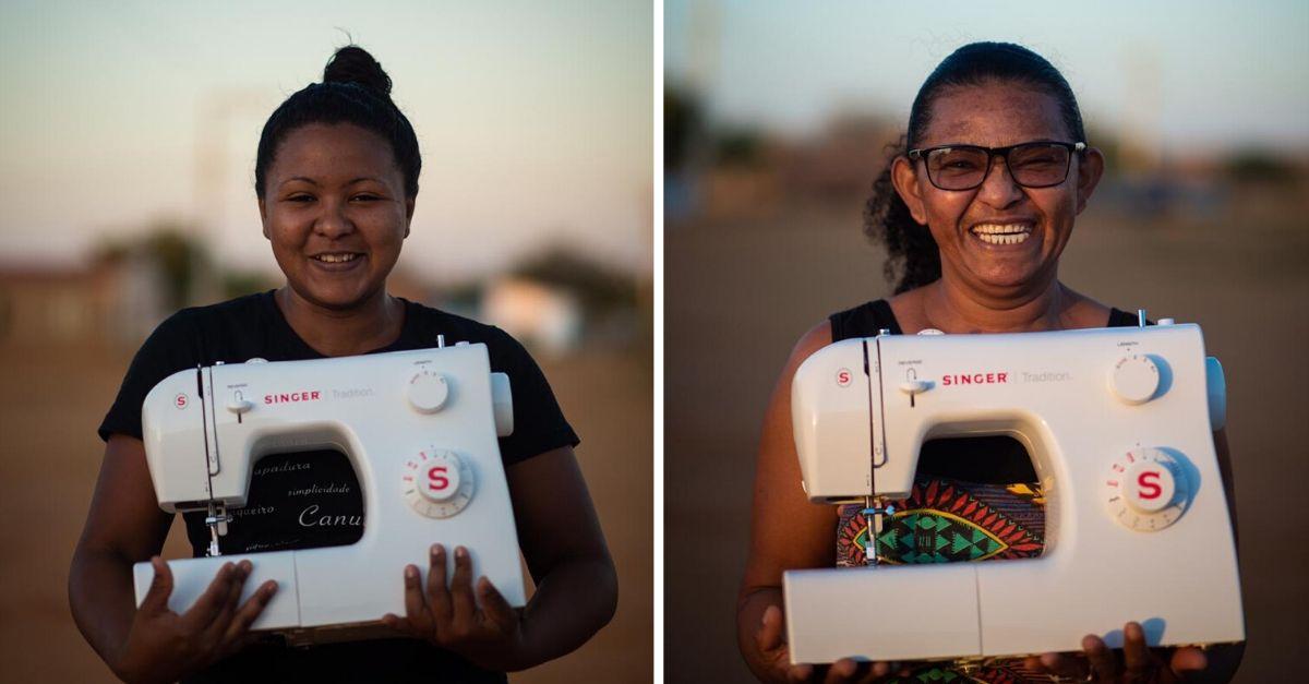 mulheres do Forte Severina segurando máquina de costura