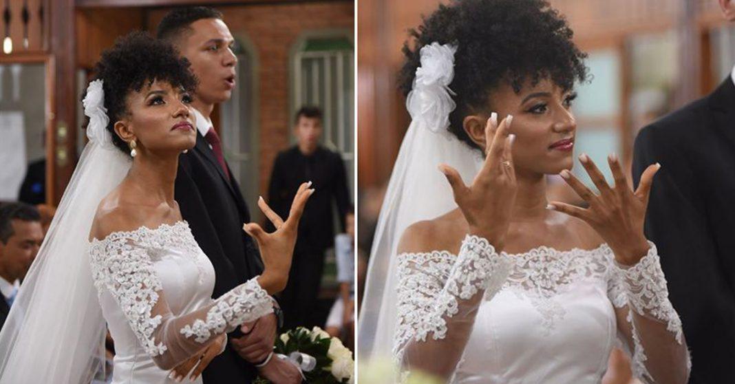 Noiva narra o próprio casamento em língua de sinais para incluir amigos surdos, em MG 3