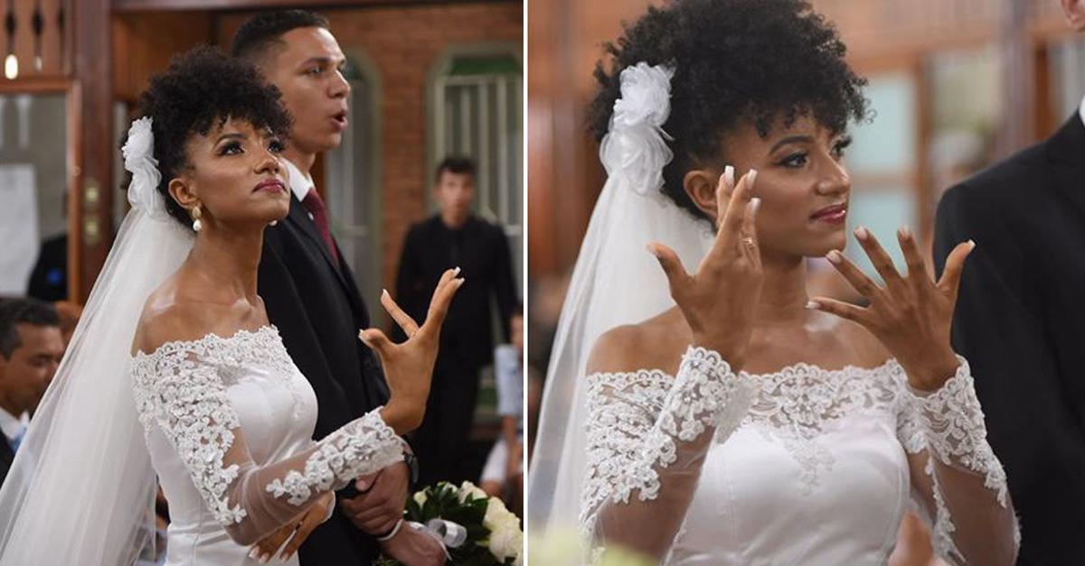 Noiva narra o próprio casamento em língua de sinais para incluir amigos surdos, em MG 4