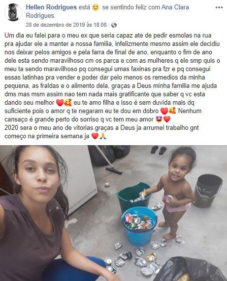 print de publicação do Facebook de jovem e seu bebê
