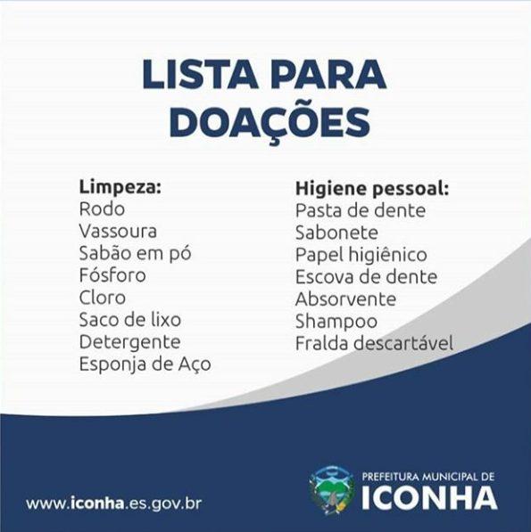 lista de doações para moradores de Iconha
