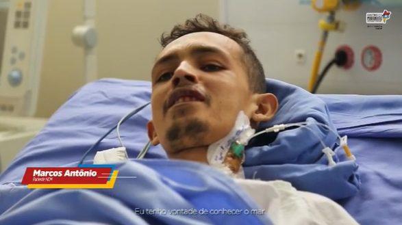 paciente em estado terminal relatando o desejo de conhecer o mar de São Luís