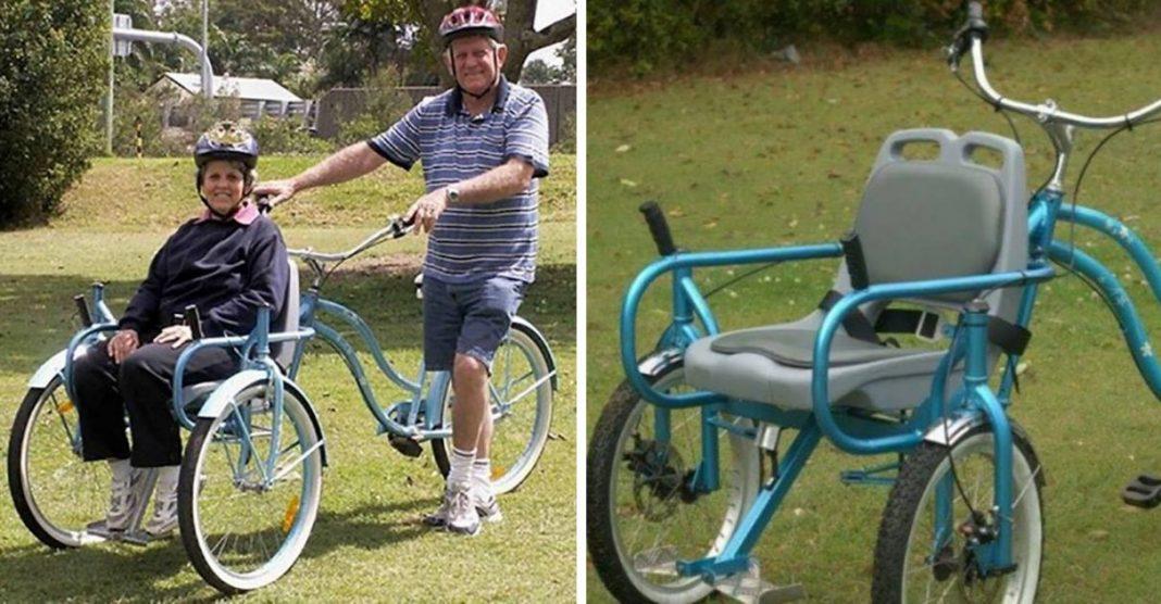 Idoso adapta bicicleta para passear com esposa com Alzheimer