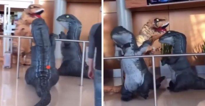 Garotos se vestem de dinossauros para receber avó em aeroporto