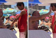 Homem passa protetor solar menino vendia balinha sol quente