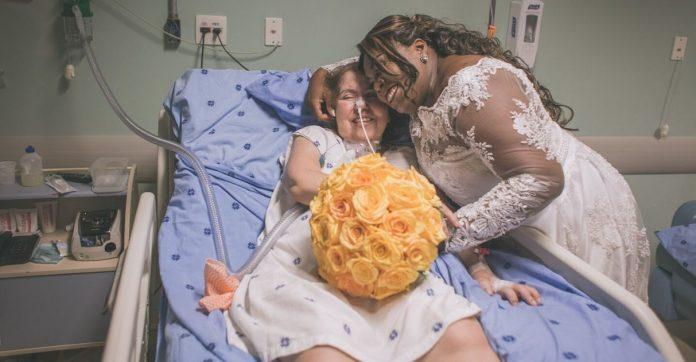 noiva visita amiga internada hospital antes do seu casamento