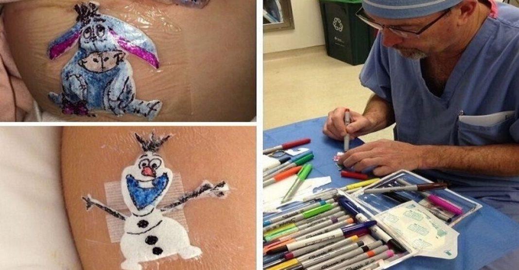 Médico desenha curativos crianças cirurgia