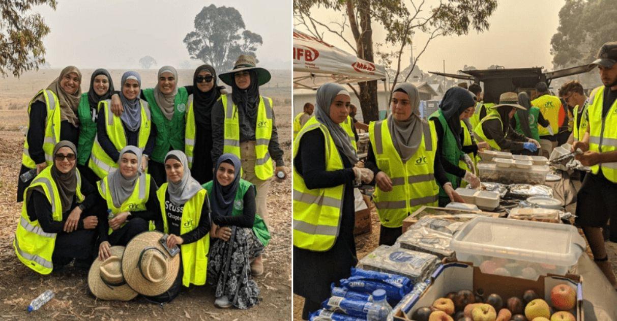 mulheres muçulmanas arrecadam caminhões de suprimentos bombeiros austrália