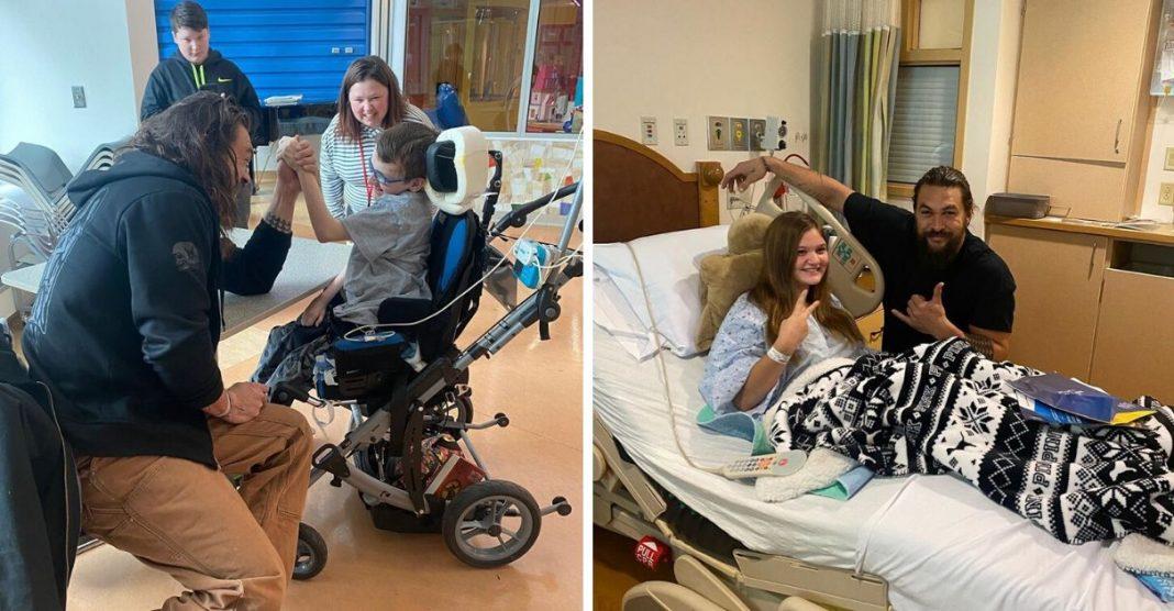 Jason Momoa faz visita surpresa a hospital infantil e encanta crianças 3