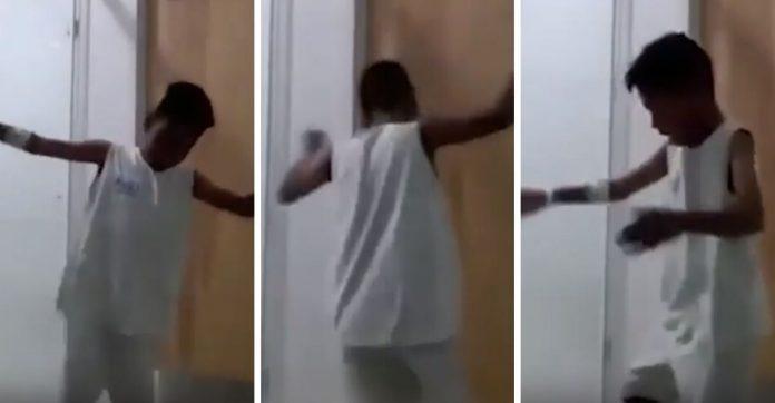 Menino grava vídeo dançando em banheiro de hospital para mostrar que está bem