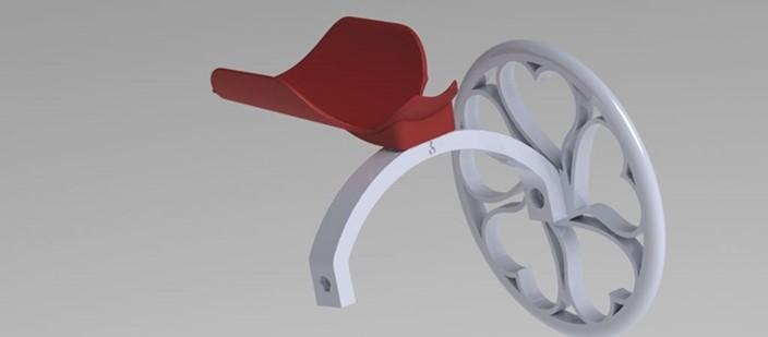 Carrinho de rodas construído em impressora 3D para cães com deficiência