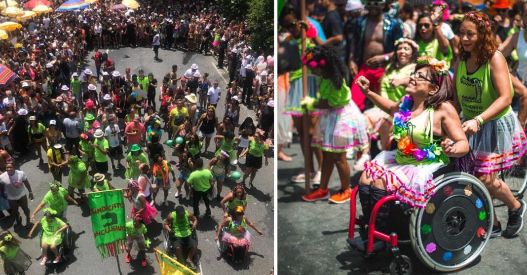 Integrantes da bateria inclusiva do bloco de carnaval Chama o Síndico desfilando pela avenida