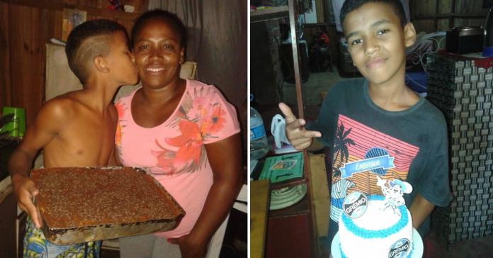 Mãe faz bolo de aniversário simples para filho, internautas se comovem e enviam presentes 1