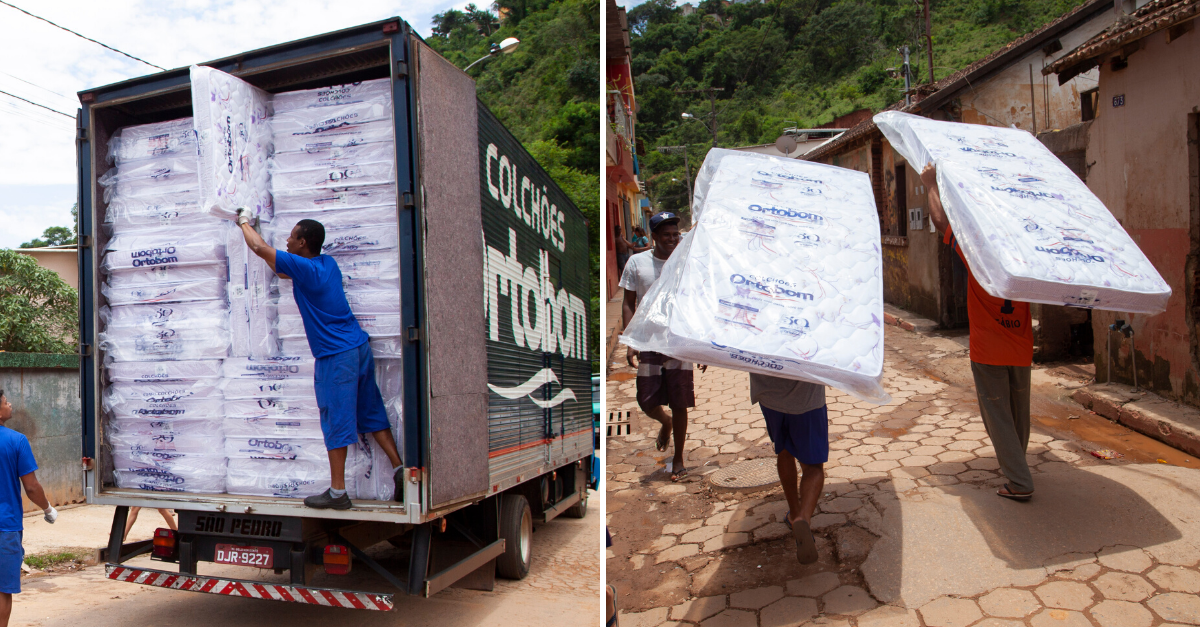 Ortobom doa 500 colchões para vítimas de chuva em Raposos (MG)