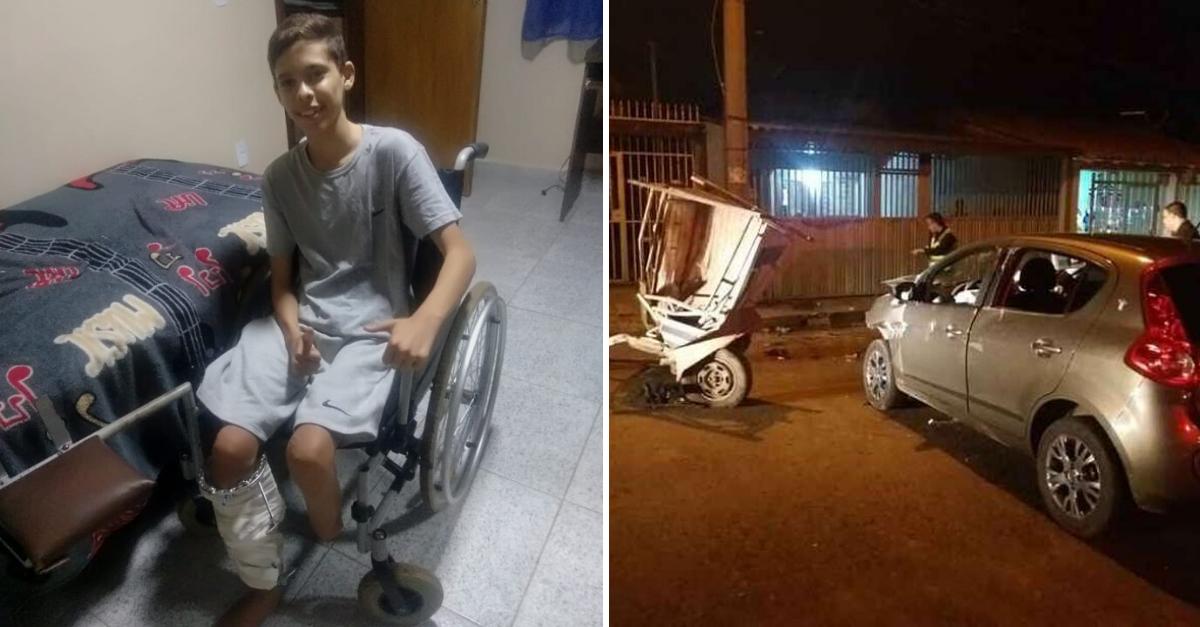 Adolescente atropelado por motorista bêbado sonha comprar prótese e comove internautas