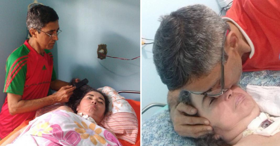 Homem cuida há 12 anos da mulher em estado vegetativo e dá lição de amor