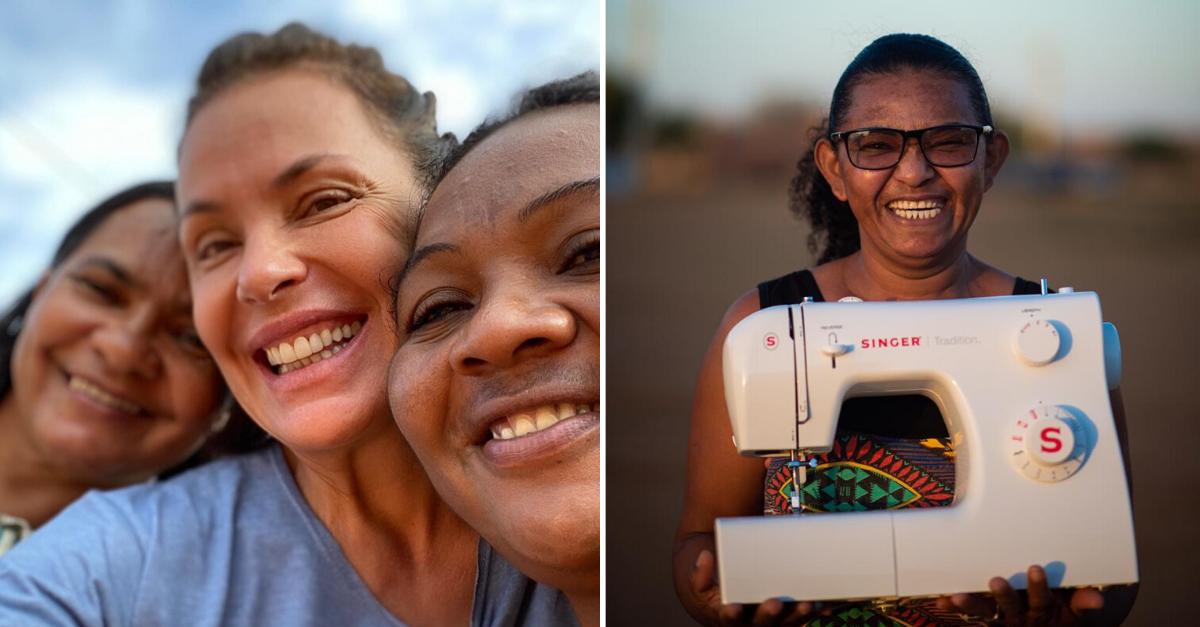 Carolina Ferraz doa máquinas de costura para mulheres terem seu ateliê