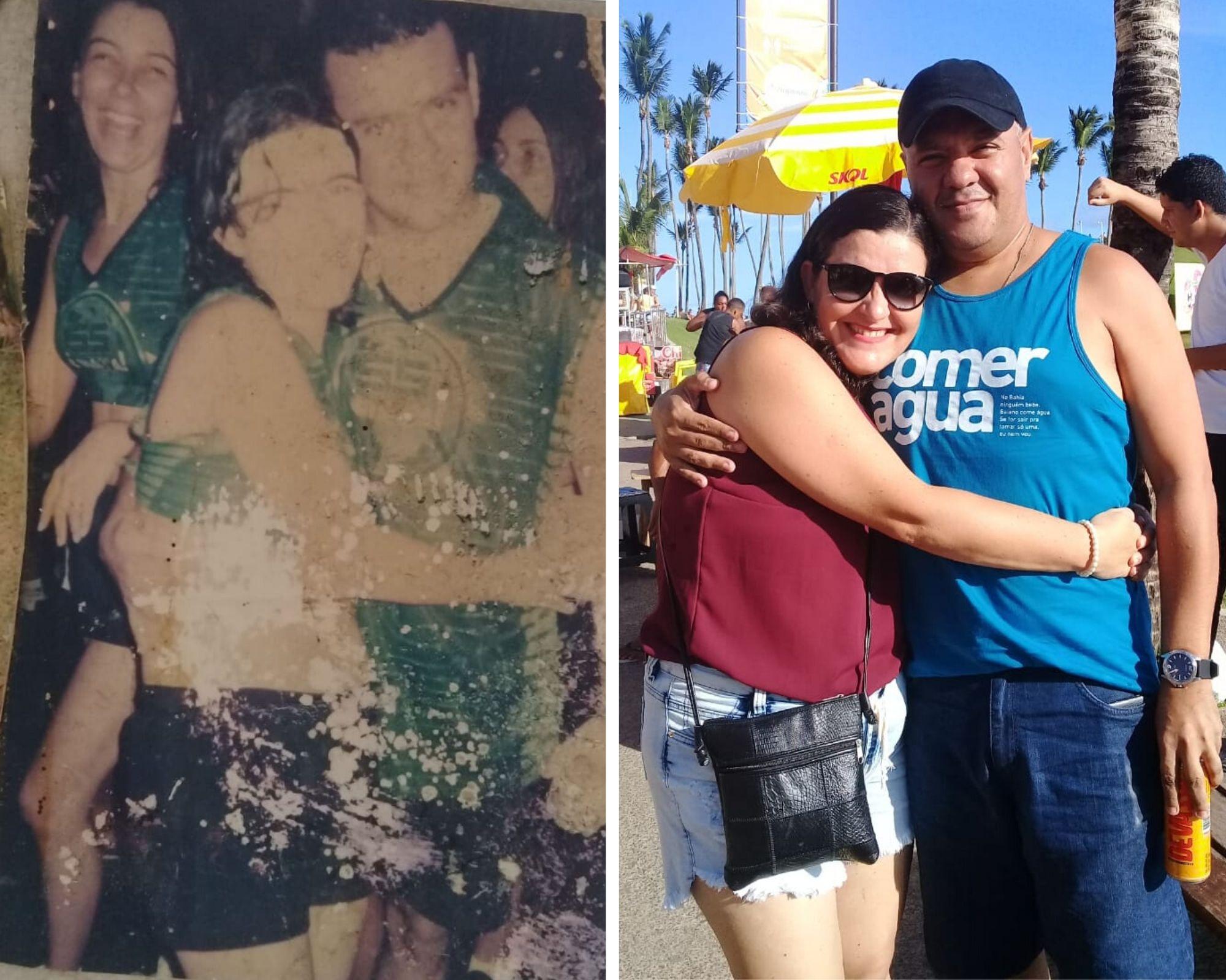 antes e depois de casal que se apaixonou no Carnaval de Salvador