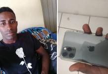 Jovem que devolveu celular perdido, ganhou outro aparelho e trocou por biscoito e leite para as crianças com celular encontrado e devolvido na mão
