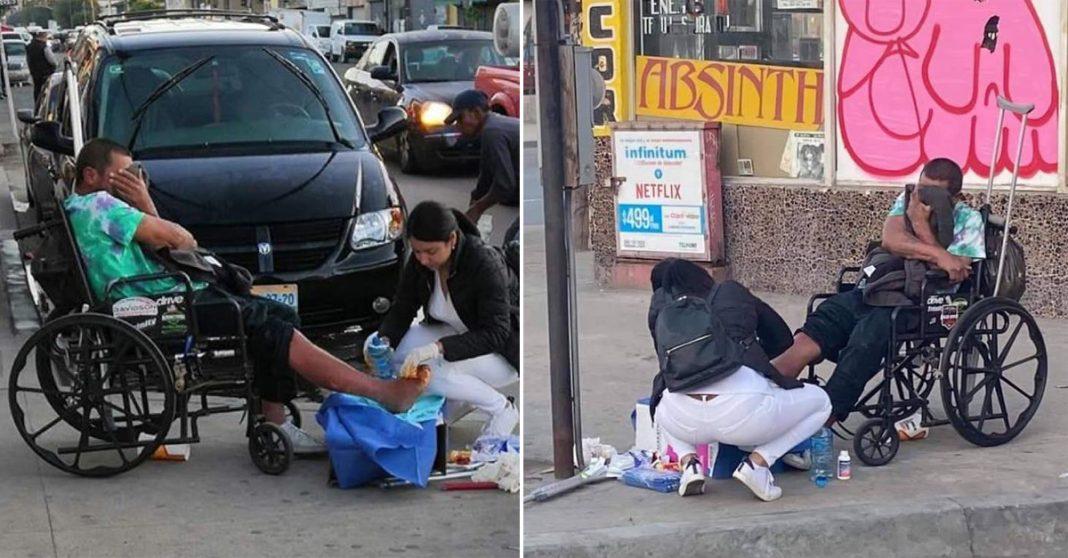 Enfermeira trata feridas de sem-teto no meio da rua 3