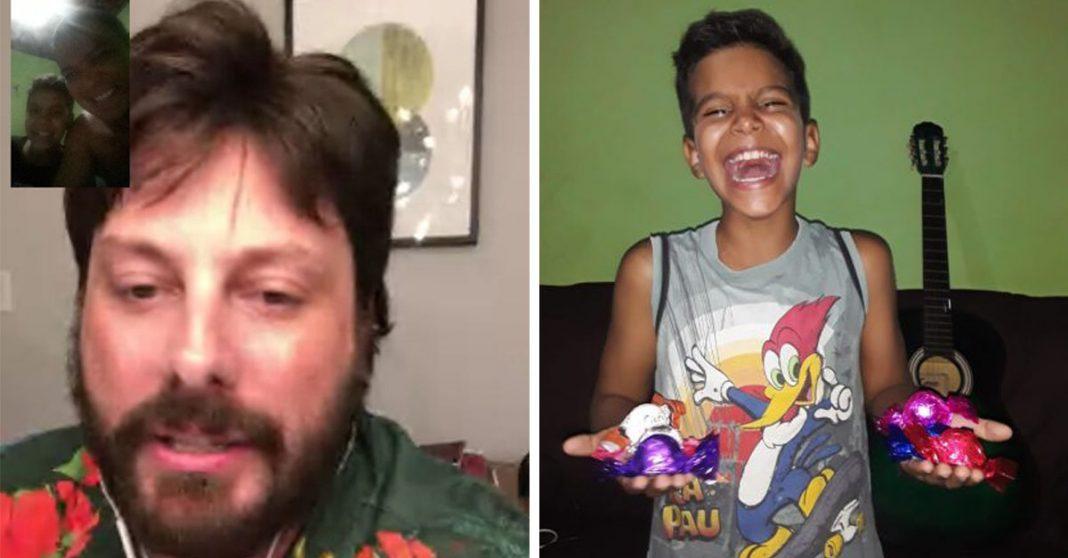 Danilo Gentili surpreende menino humilhado por vender bombons com ligação e presente 2