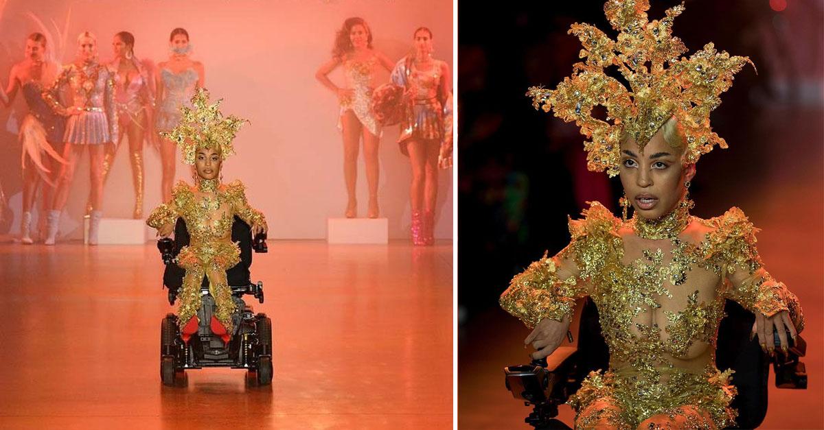 Modelo com distrofia muscular brilha em passarela da semana de moda de Nova York 2