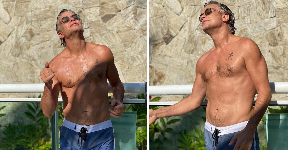 Fábio Assunção sem camisa tomando sol