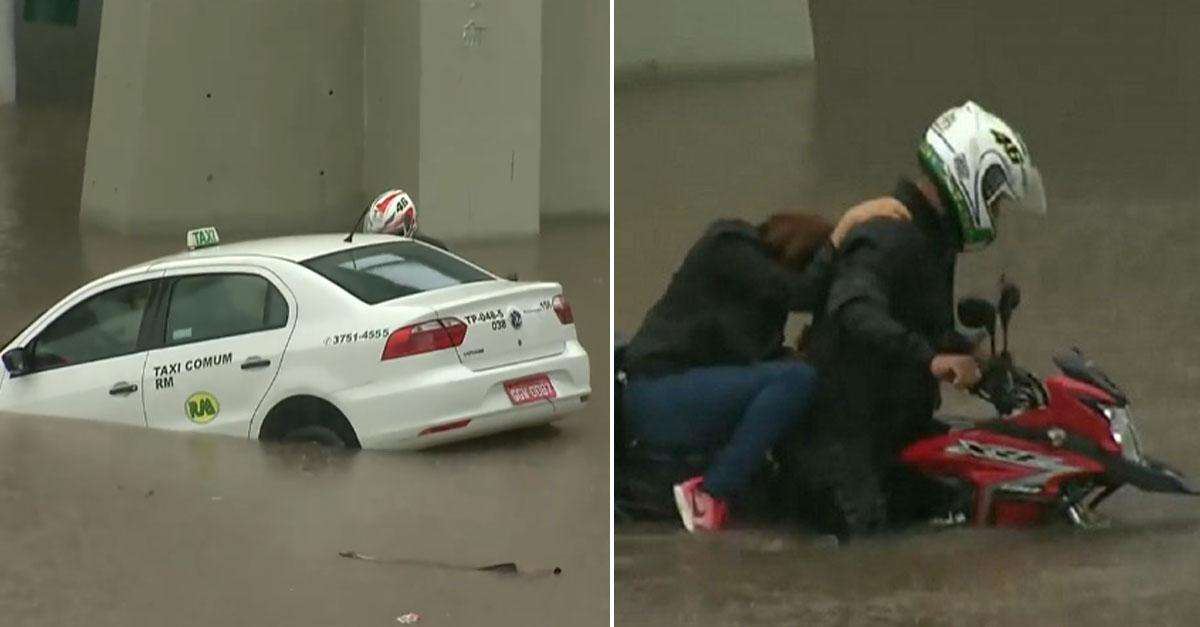Motociclista salva mulher e taxista de alagamento em São Paulo 4