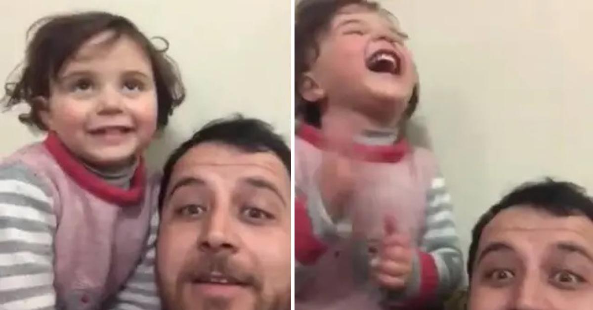 Pai cria brincadeira para distrair filha durante bombardeio na Síria 2