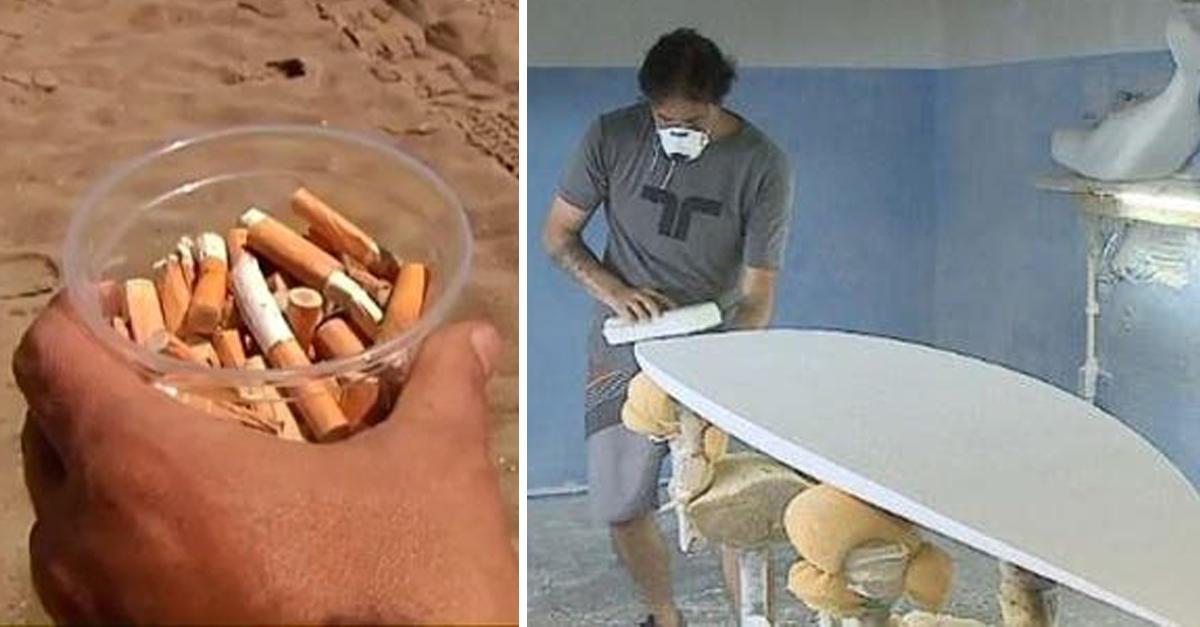 Designer transforma bitucas de cigarro em pranchas de surfe em SC 1