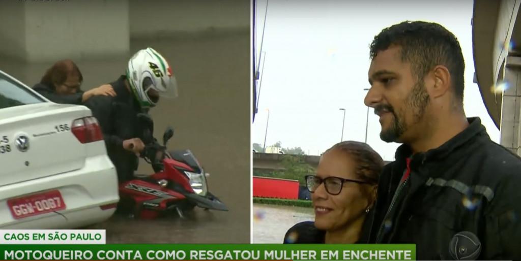Motociclista salva mulher e taxista de alagamento em São Paulo 3
