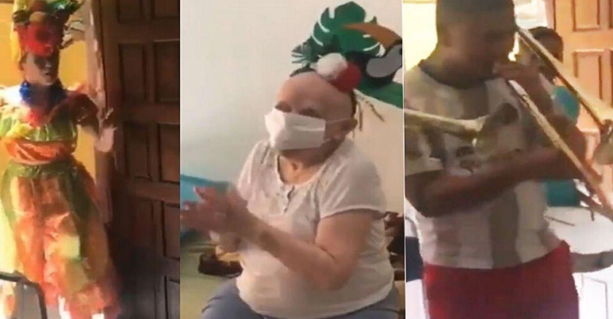 Filha leva carnaval para mãe com câncer