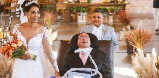Pai com esclerose realiza sonho de levar filha ao altar