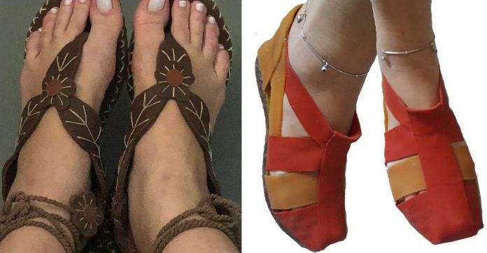 Mulheres indígenas vendem sandálias látex Amazônia