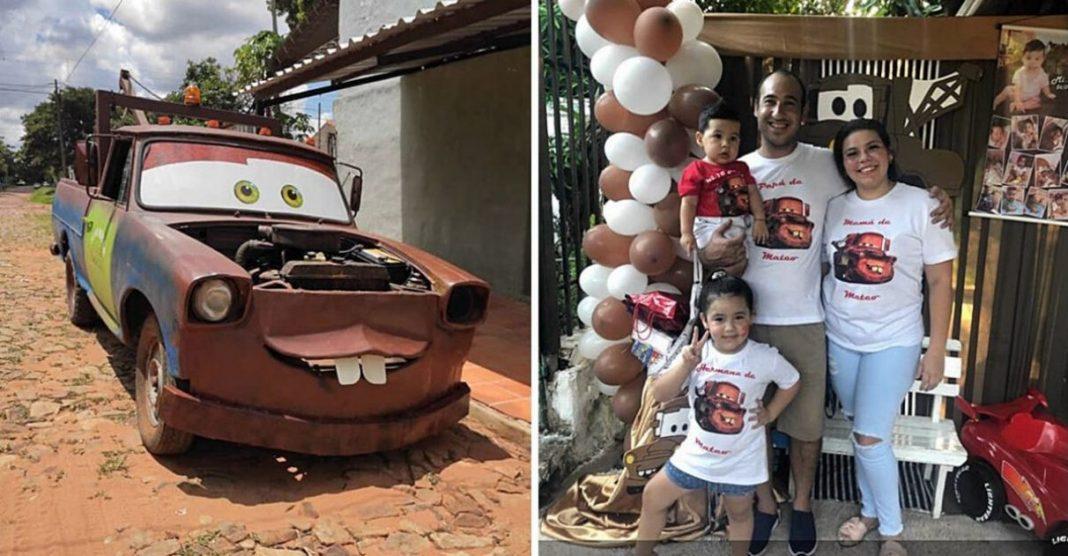 Pai transforma caminhão personagem Mater Carros aniversário filho