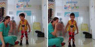 Fisioterapeuta chora ao ver menino dando primeiros passos sozinho