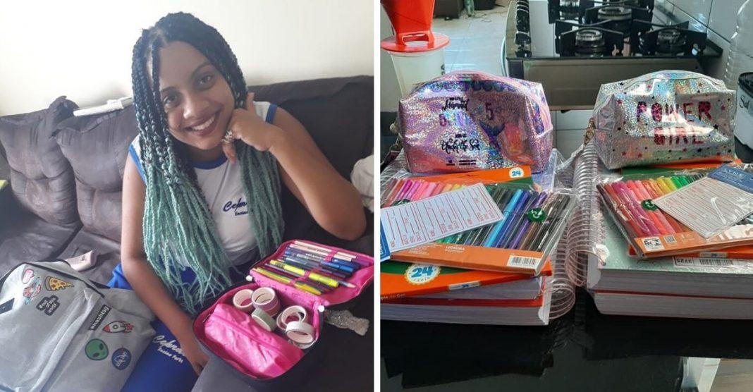 Menina abre mão curso maquiagem para comprar kit escolar amigas