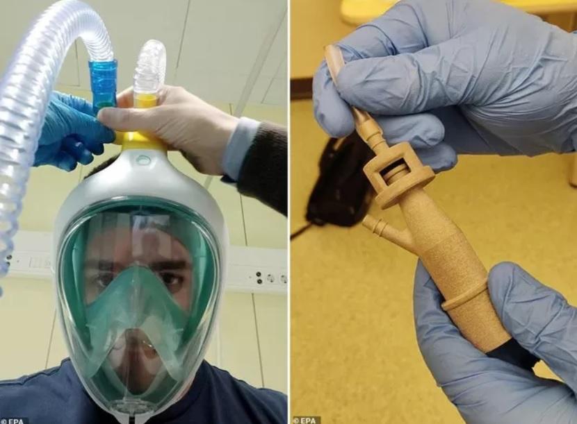 Coronavírus: Engenheiros italianos transformam máscaras de mergulho em respiradores