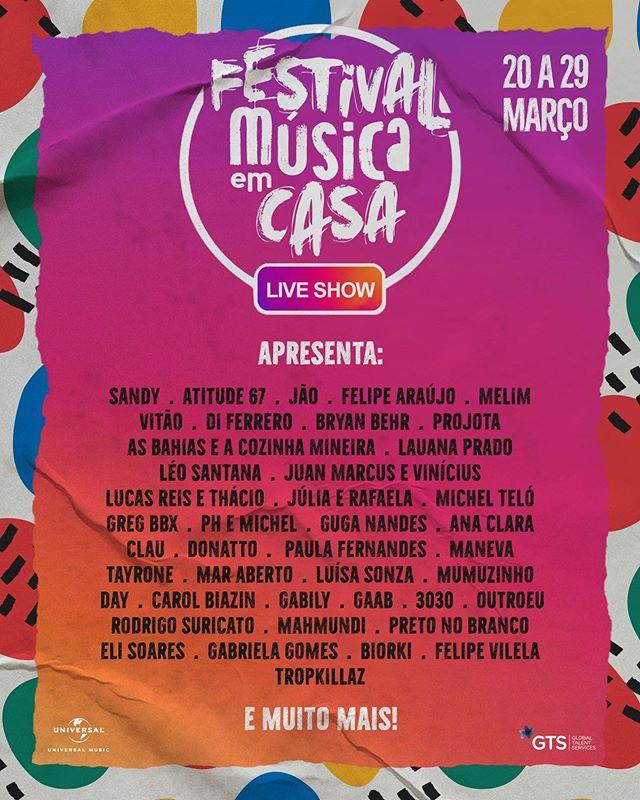 line-up festival música em casa