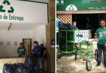 Entrada do Ecoponto que recebe lixo reciclável em troca de bônus no comércio em praia do Ceará e atendente com bicicleta de fazer coleta