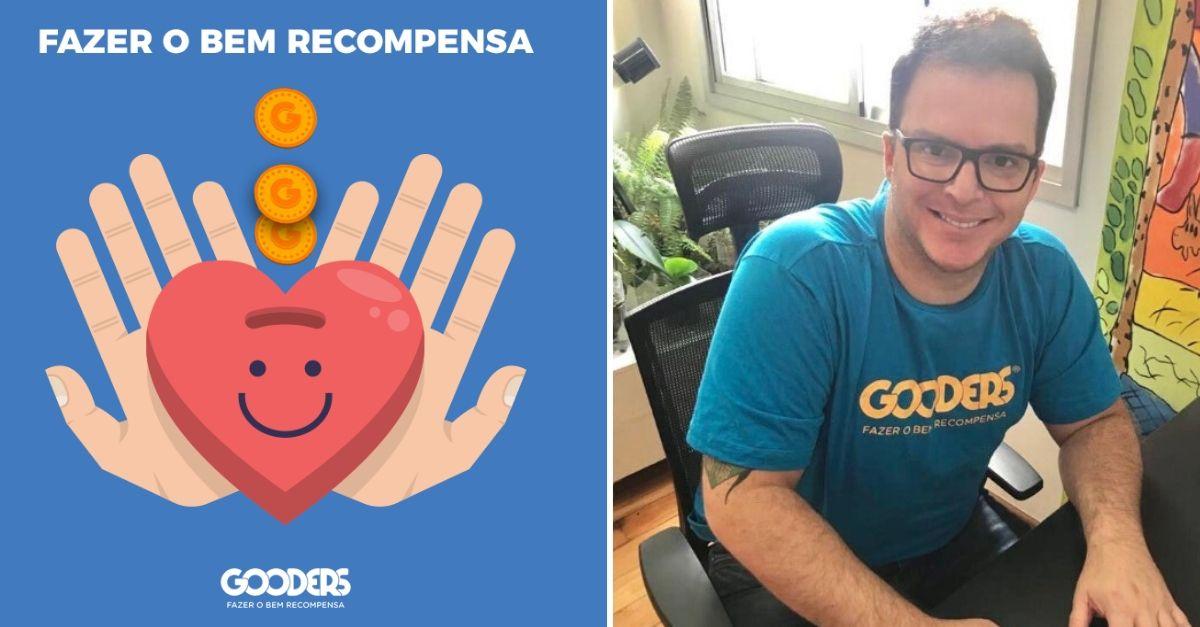 Empreendedor Fábio Procópio, que criou negócio social após diagnóstico de autismo e ao lado a logo da Gooders