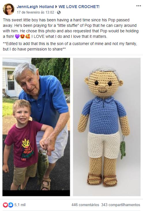 Artista cria boneco de crochê adorável para menino que sofre com morte do avô 1