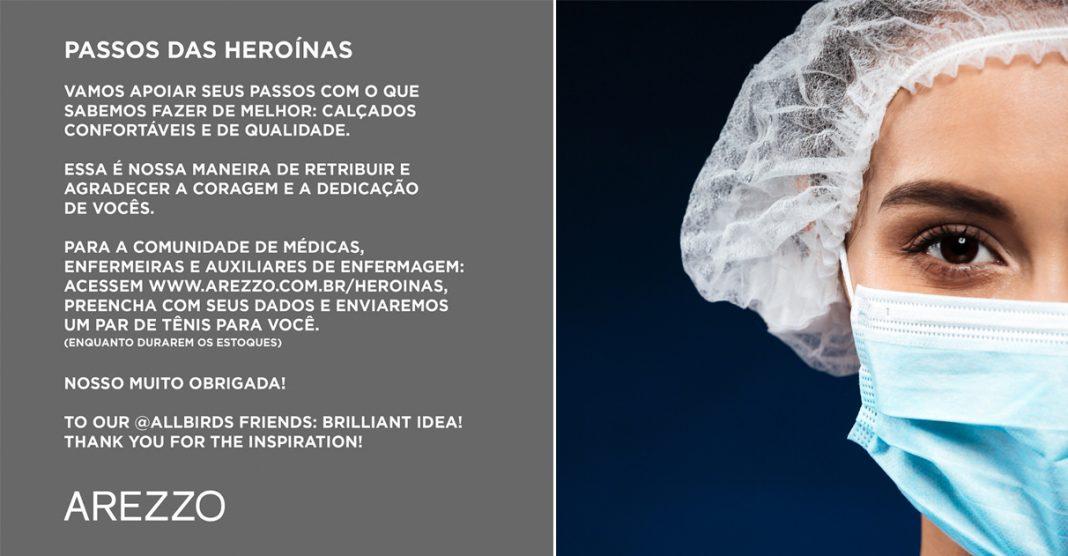 Arezzo doa 3 mil pares de tênis para médicas e enfermeiras que estão na linha de frente contra coronavírus 2