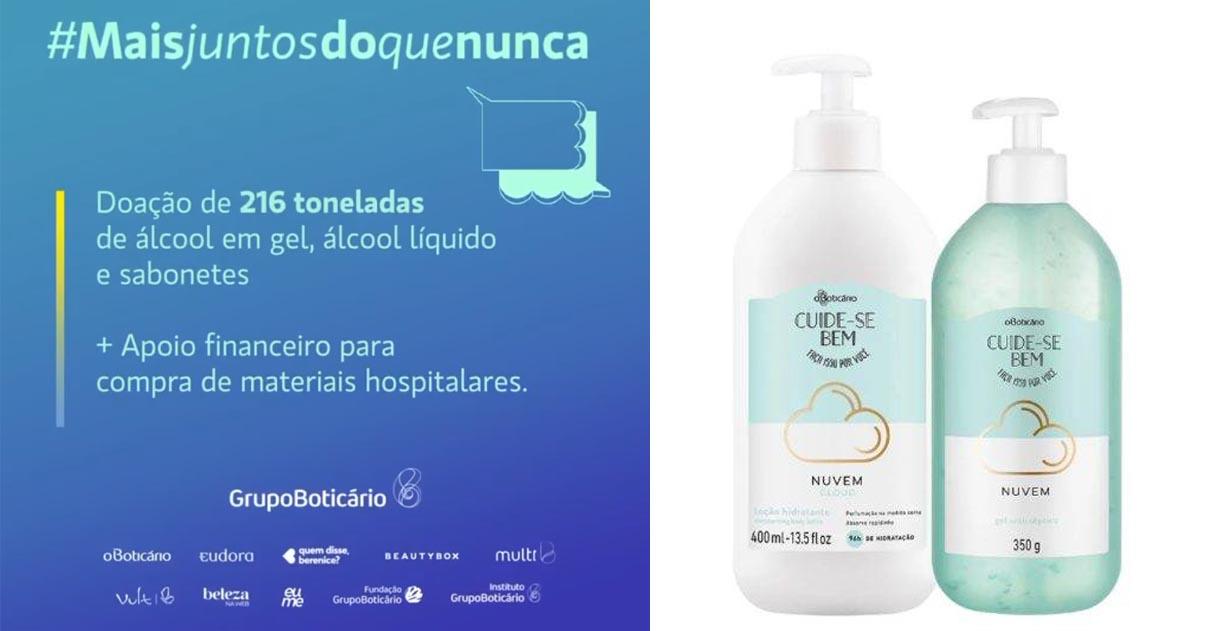 Grupo Boticário doa 216 toneladas de itens de higiene à população: coronavírus 1