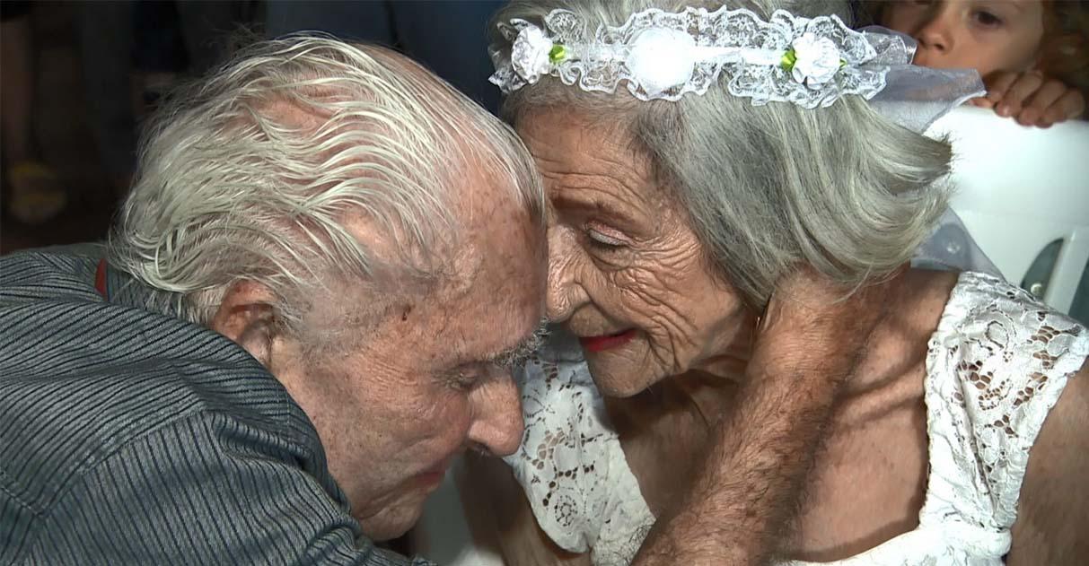 Casal de 100 e 96 anos celebra casamento em casa de repouso 1