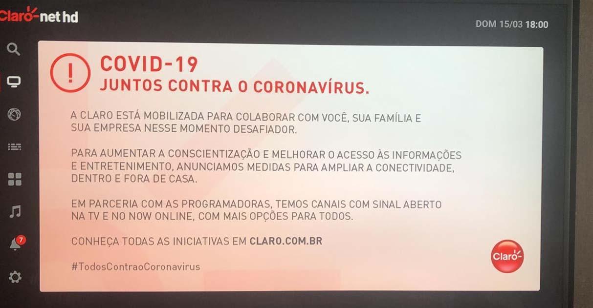 Coronavírus: empresas liberam canais e internet para população assinantes ficar em casa