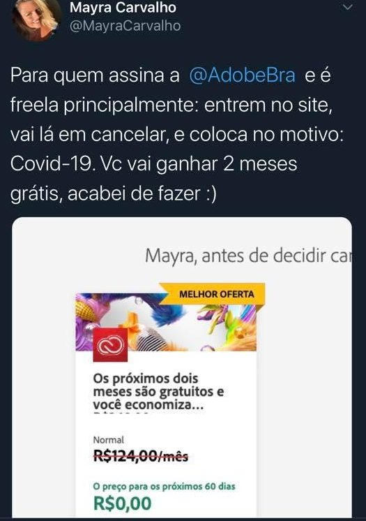 print de twitter sobre adobe oferecer assinatura gratuita