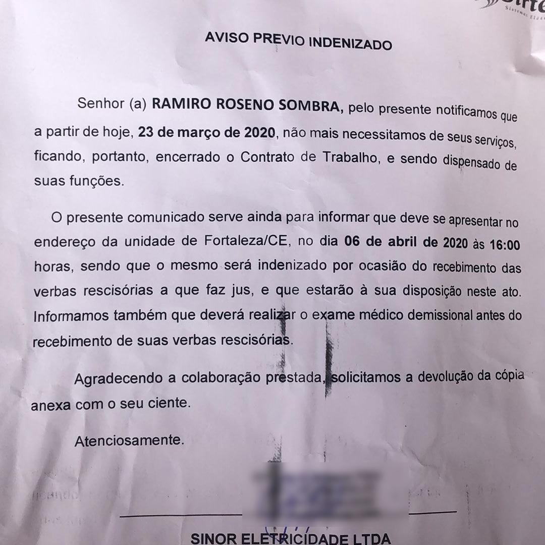 carta de demissão de funcionário de empresa de energia que se recusou a cortar luz