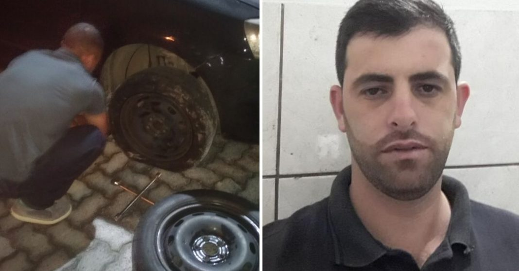 Homem surpreende desconhecidos em beira de estrada ao emprestar o próprio carro para ajudá-los com pneu furado